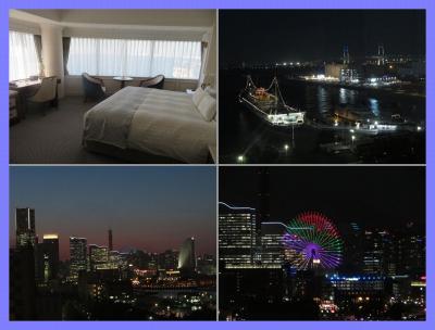 また横浜へ(2)ホテルニューグランド。コーナールームのパノラマビューでみなとみらい、氷川丸、ベイブリッジビュー、夜景も素敵