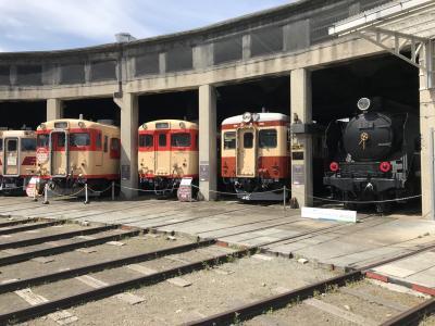 鉄道遺産を巡る、旧津山扇形機関車庫(現在は津山まなびの鉄道館)