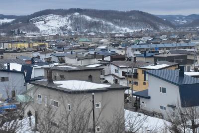 石北本線から眺める北海道の風景~煙突のある家が立ち並ぶ雪国の町~