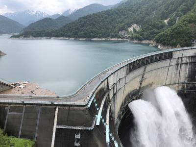 初めての立山黒部アルペンルート(3)観光放水初日の黒部ダム(2021年6月)