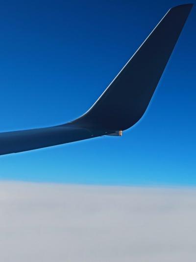 JAL285便 羽田空港16:55発 出雲行 雲上-青空! ☆アクアライン・幕張新都心も見えて