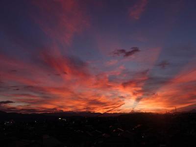 梅雨明け前日の夕暮れの富士と夕陽(2021.07.16)