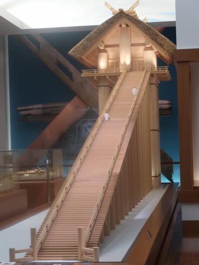 島根15 出雲-2 古代出雲歴史博物館a  巨大神殿の復元模型も  ☆発掘された本殿の三本柱