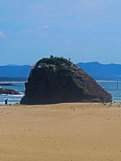 島根21 出雲-8 稲佐の浜(快晴‐海輝く)国譲り神話の舞台  ☆弁天島辺りを歩く