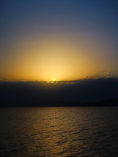 島根24 松江-1 「はくちょう」a 宍道湖観光遊覧船 ☆夕日の刻-サンセットクルーズ-出航