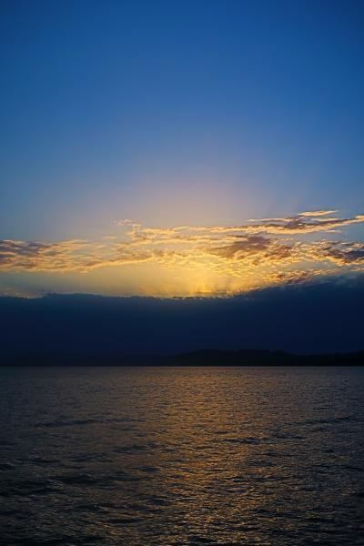 島根25 松江-2 「はくちょう」b 宍道湖に夕日が映えて ☆嫁ヶ島-大橋-松江 帰帆