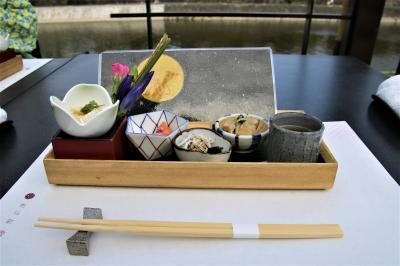 着物に着替えて寺町京極商店街界隈をてくてく散策後先斗町魯ビン納涼川床で京料理に舌鼓