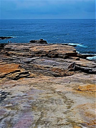 南紀白浜26 千畳敷 砂岩の岩盤‐約4ha複雑な形に削られ ☆夕陽の名所・落書き多く残念