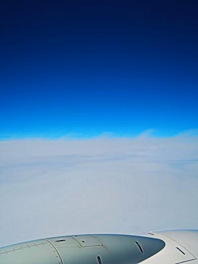 JAL260便 広島空港 離陸 羽田へ90分 ☆群青の空高く エンジン近く-非常口席22A‐