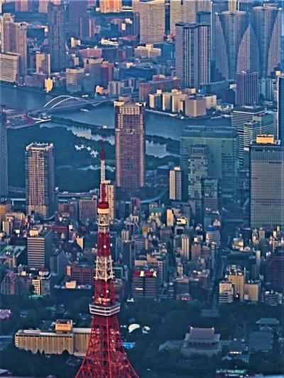 羽田空港 JAL260便 夕刻着 東京タワー/お台場海浜公園‐眼下 ☆都心上空の新航空路?