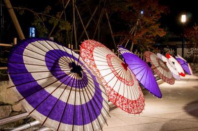 闇夜に浮かぶ和傘アート
