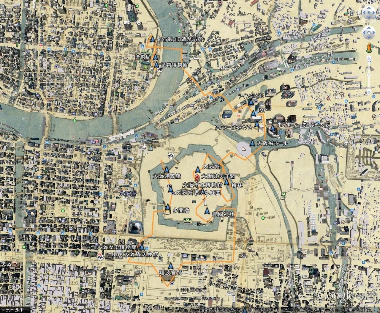 大阪 大阪城周辺など、歴史地図との考察
