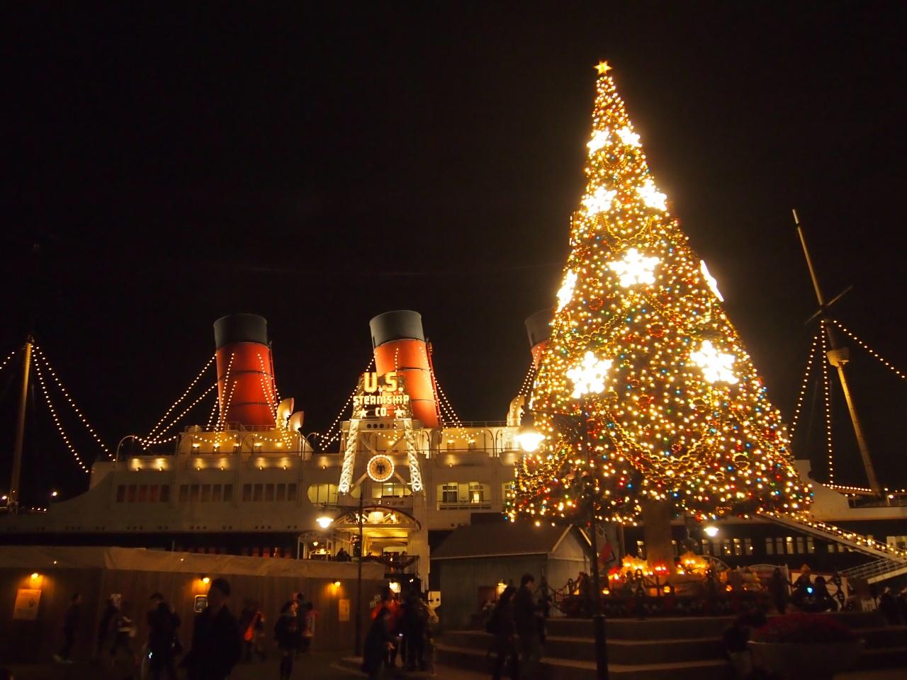 クリスマス時期のディズニーシーへ、、、強風の影響でショー中止