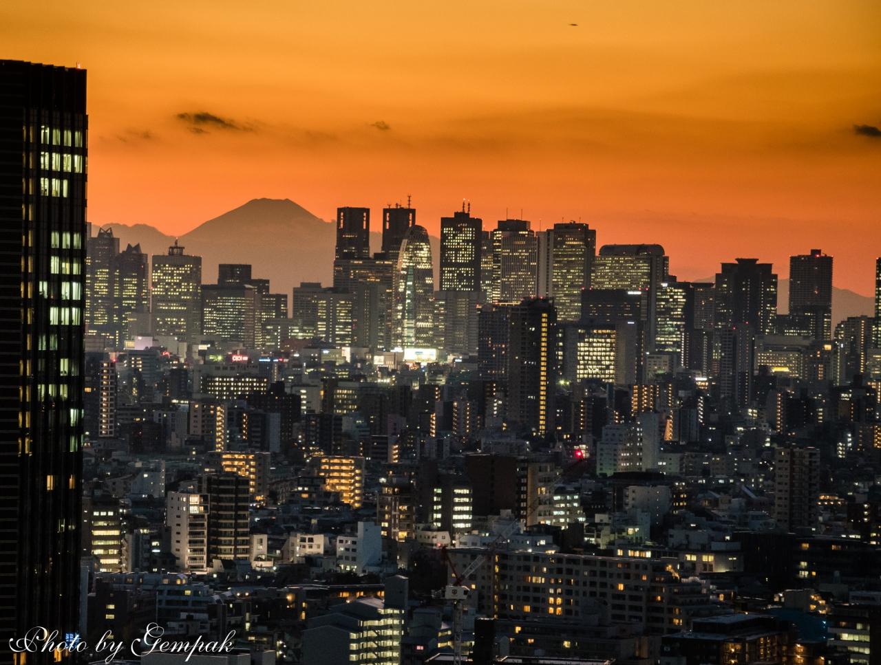 冬晴れの大都会の夕景・夜景、そ...