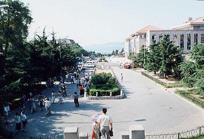 広場から道路、その先に海が見える。 <br />