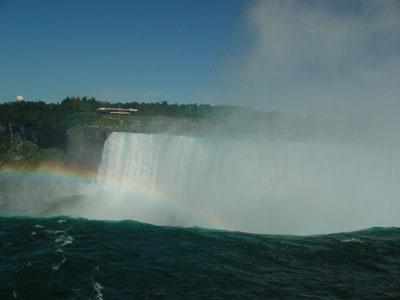 カナダ滝の落下地点です。<br />落ち行く水が大音響をたてて、迫力満点です。<br />ここから飛び込んだ人がいるんだから、まさに自殺行為。