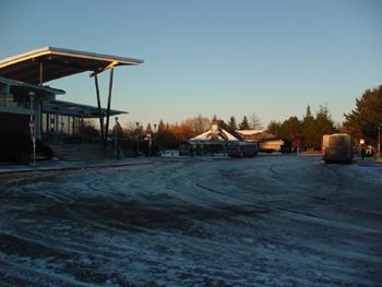 バスを降りたキャンパス内のバスターミナルです。<br />路面が凍り、ツルッツルッで危なかった。<br />大きな屋根は本屋・売店がはいった建物で、スターバックスコーヒーもありました。