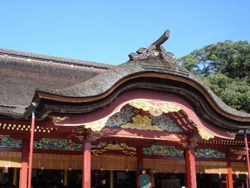 太宰府天満宮本殿。学問の神様なので、昔は入試などの前に、よく参拝に来ていました。