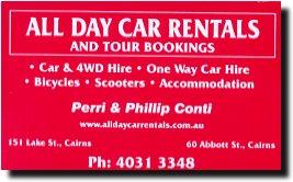 運良く、ぶらぶらする前に、宿泊ホテル(「The Oasis Resort Cairns オアシス リゾート ケアンズ」)のまん前に小さなレンタカーの店を発見 (●^o^●).ガラスの扉にオートバイの写真がのっているではないか!! ラッキー♪<br />早速店内に入り、モーターサイクルを借りたいと申し出る.返事は写真を貼っているだけで実際に手持ちがあるのは「スクーター」だけと分った.これではダメ.<br /><br />すぐ近くに別のレンタカー・ショップがある.「ALL DAY CAR RENTALS」.<br />入り口には「YAMAHAのドラッグスター」が置いてある.<br />今度は大丈夫だろうと店内に入る.中年の男女が接客している.女性の方は事務処理に忙しそう.男性スタッフは先客の接客中.仕方なしにひたすら待つ.<br /><br />約5分後、私の番がやってきた.英語力に全く自信がないので、指で指しながら「表のドラッグスターを借りたい」旨をスタッフに伝える.<br />しかし、伝わらず、裏について来いと言われる.付いていくと3台のバイクがある.どれが良いかと聞くので「スズキ イントルーダー 250cc」を選択する.ここに置いてあるのは全て250ccクラスだった.<br /><br />8時からオープンしていると言うので明日の8〜16時まで予約する.<br />400ccだと、1日90A$だが、250ccのイントルーダーになったので1日75A$で済んだ.<br /><br />運が良かったのか悪かったのか……. <br /><br /><br />ALL DAY CAR RENTALS.<br />http://www.alldaycarrentals.com.au/