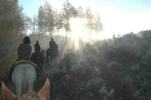 【乗馬ツアー】先頭をいくのが、リーダーのマイク。クリント・イーストウッド激似のナイスミドル。