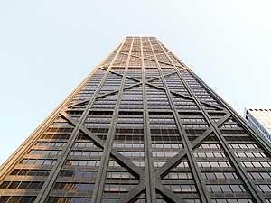 シカゴは高層ビルが多いですね。アメリカで一番高いビルもシカゴです。このビルはシカゴで2番目に高いビルらしいですが、展望台までは上りませんでした。