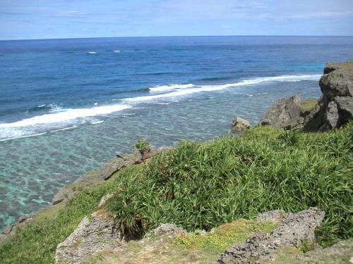 六畳ビーチを上から撮ったところ。<br />ビーチは真下にあるから写ってないけど、すっごく綺麗でしょ?<br />海が怖かった私も、綺麗な水と魚や珊瑚のお蔭で楽しく泳ぐことができました。