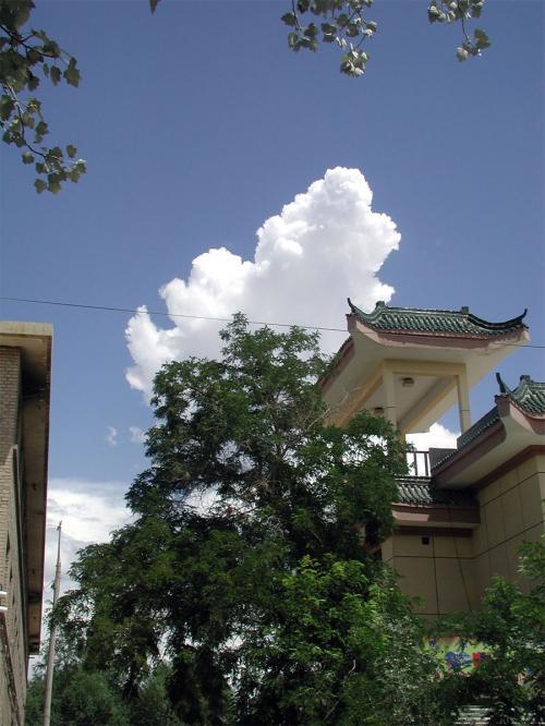 家を出ると、綺麗な空に入道雲が出ていました。<br />実は、敦煌の空に入道雲が出る事って殆ど無いんです。<br /><br />この園林に在りそうな楼亭の屋根みたいなモノは、環境保護局の建物です。