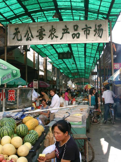ここは野菜などの食材を買いに来る菜市場。<br />敦煌の野菜や果物などの栽培モノは、全て無農薬なんだそうです。<br />「無公害農産品市場」って書かれていますよね。
