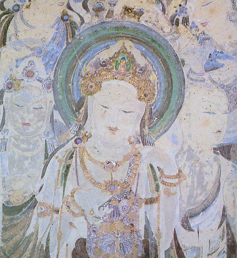 57窟の樹下説法図の菩薩像。NHK取材班の「シルクロード第2巻」敦煌より。