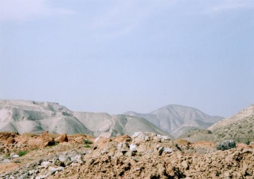 戈壁灘平原にある山肌と同じような山々・・・<br />しかし木々が全くない。。。