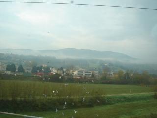 *朝霧の中のトスカーナ*<br />まだ朝早いので霧がかっていました。自然のどかなトスカーナの景色は、森があり、ワイン畑があり、四角くて屋根がレンガの家がぽつりとあります。時に浮かんでいるような城壁で囲まれた町があったり、集落があったり。霧がちょうど山の中腹にかかっていて、すごくロマンチック。まるで街や家が浮かんでいるような感じでした。<br />そんな景色をみながら写真を撮ったり、うとうとしたりしているうちに1時間弱が経過して、アレッツォに到着でーす!時間は9時過ぎ。1時前までこの街を散策する予定です。