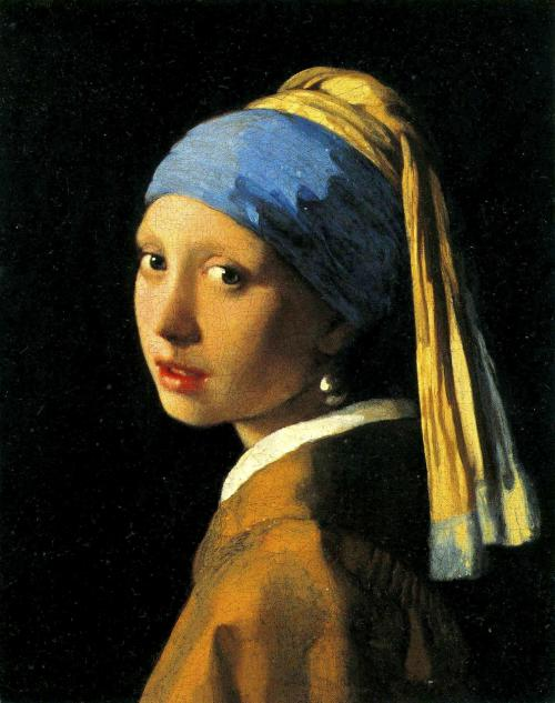 真珠の耳飾りの少女 <br />1665年頃の作 <br />44.5cm×39cm<br />日本では<br />『青いターバンの少女』<br />という名で通ってます。<br />マウリッツハイス美術館常設の絵ですので今でも行けば観れます。