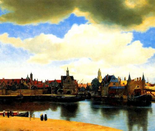デルフトの眺望 1660年頃の作<br />96.5cm×116cm<br /><br />私の目的はこの絵でした。<br />なんと透き通った美しい色使いなのでしょう...。<br />本物の絵のサイズは思った以上に大きく<br />とても迫力がありました。<br />これもマウリッツハイス美術館常設<br />の絵ですので今でも行けば観れます。