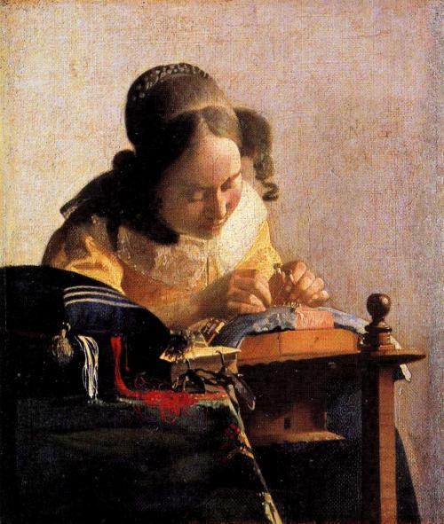 レースを編む女<br />(ルーブル美術館/パリ・フランス)<br />1669年頃の作品<br />24cm×20.5cm<br /><br />これもポストカードです。