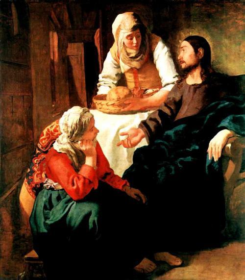 マリアとマルタの家のキリスト <br />1655年頃の作 160cm×142cm<br />(国立スコットランド美術館<br />/エディンバラ・英国)<br />初期のキリスト教聖書の<br />1場面を題材にした絵です。