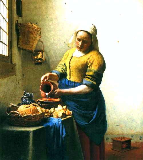 牛乳を注ぐ女 <br />(アムステルダム国立美術館)<br />1658年頃の作 45.5cm×40.5cm<br />フェルメール初期の代表作です。<br />幾何学的で独特な遠近感もこの頃確立したとか...。<br />