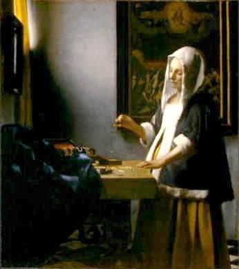 秤を持つ女 <br />1664年頃の作 40.5cm×35.5cm<br />(ワシントンナショナルギャラリー/USA)<br /><br />アメリカ組ではこれが一番まともだったのでは...。<br />背後の絵はヒエロニムス・ボッシュの最後の審判(ウィーン造形アカデミー蔵では...^^;)