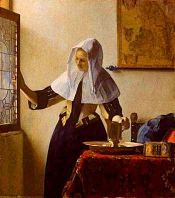 水差しを持つ女 <br />1664年頃の作 <br />46cm×40.5cm<br />(ニューヨークメトロポリタン美術館/USA)<br />これもアメリカ組では秀作でした。