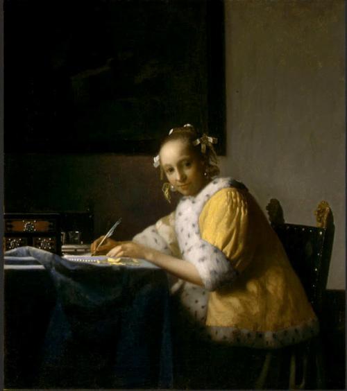 手紙を書く女  1665年頃 <br />45cm×40cm<br />(ワシントンナショナルギャラリー/USA)<br />これもアメリカ組です。<br />黄色い服が印象的でしたが、後ろのドクロの絵が不気味で好きになれませんでした^^;