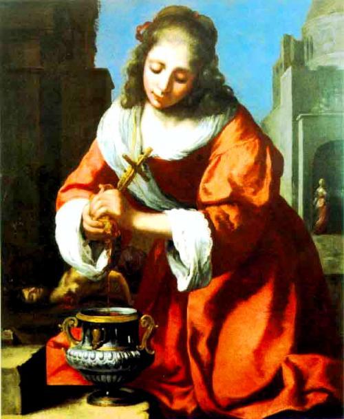 聖女プラクセデス 【習作】<br />1655年頃の作102cm×83cm<br />(バーバラ・プラセッカ・コレクション財団/USA)<br />2世紀のローマの聖人が殉教者を看取る場面。<br />イタリアの画家フェリーチェ・フィケレッリ(1605-1669)の同名の作品の模写です。つい最近フェルメールの作品と確認されたばかりのある意味隠し球的絵でした。
