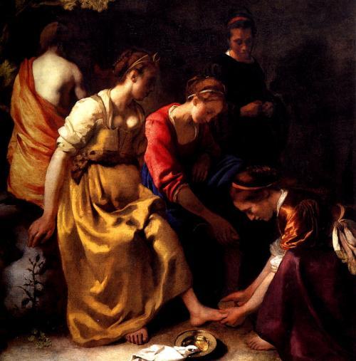 ディアナとニンフたち <br />1655年頃の作品<br />この絵もマウリッツハイス美術館で見れます。<br />この絵は当初右上の空の部分が青かったのですが、後世に別の画家によって加筆されたものであるのが確認された為絵の具を落としてもとの状態に戻したそうです…