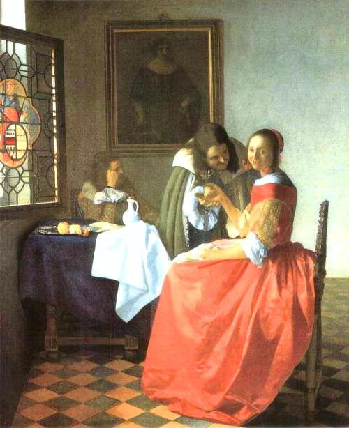 二人の紳士と女 1660年頃の作 78cm×67cm<br />(ウルリッヒ美術館/ブラウンシュバイク・ドイツ)<br /><br />2人の男があまりにも対称過ぎます。片方は暗く鬱になり、もう一方は女性を口説いているようにも...。勘ぐり過ぎでしょうか?窓のステンドグラスが印象的ではありましたがそっちの方が気になって...。