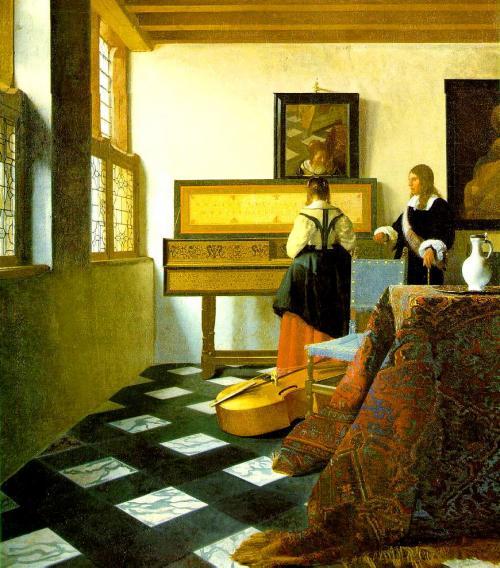 音楽のレッスン  <br />1662年頃の作 <br />74cm×65cm<br />(英国王室コレクション/バッキンガム宮殿・ロンドン)<br />独特な構図が印象的でした。なんというか均整のとれていないのに妙にインパクトがあるというか...。<br />床の菱稿白黒のタイルと奥の2人...。<br />う〜ん絵になります。