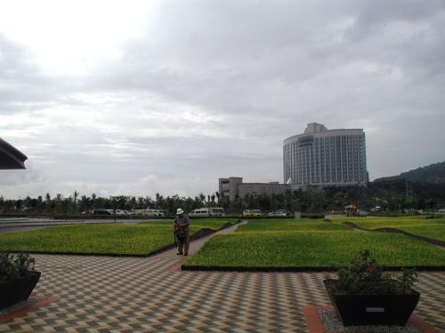 港前庭園。向こうにもホテルが。。。