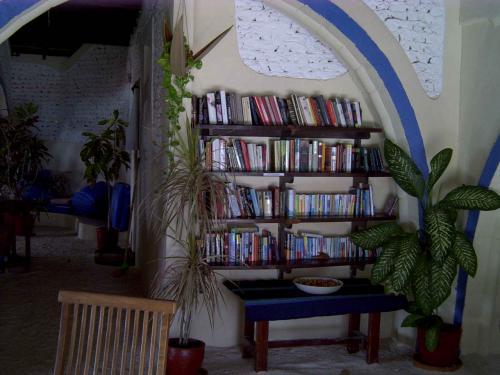 レセプションの脇にはライブラリーコーナーがあります。ここにはたくさんの本や雑誌が置いてあって、自由に読むことができます。見ると日本のものも結構あります。文庫本から雑誌、ハードカバーまで。読み終わった本などはここに置いておくと荷物にもならないしよいですね。