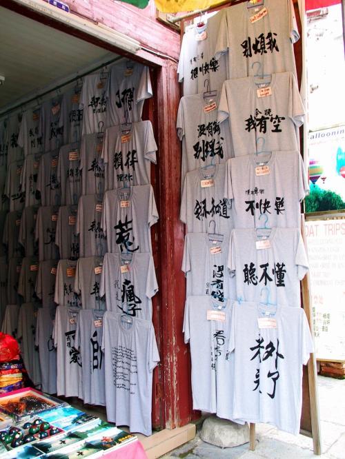 意味深な漢字が書かれたTシャツ。<br /><br />寄り付く中国人バイヤーを振り切るグッズ。<br />または、おねーちゃんを探すためのグッズ・・・<br /><br />それぞれのシャツには、書かれた漢字の意味が英語表記されているノダ!<br /><br />別煩我!(ウザイっちゅうねん!)<br />今晩我有空(わて、今晩暇やで)<br />没有啤酒不快楽(ビールあれへんとおもろない)<br />聴不懂(判らんわ)<br />老外来了(外国人来たで)<br />没有老婆很快楽(嫁はんおらんとめっちゃ楽しいで)<br />没有銭別理我(金あれへんから係わらんといてや)<br />我不知道(わい、判らへん)<br />などなど・・・<br />何で関西弁で書いたのかな??・・・(^^;
