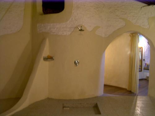 こんな広いバスルームエリアにあるのはこの簡素なシャワーひとつ。ハンドシャワーがないので、ちょっと浴びづらいです...。(--)