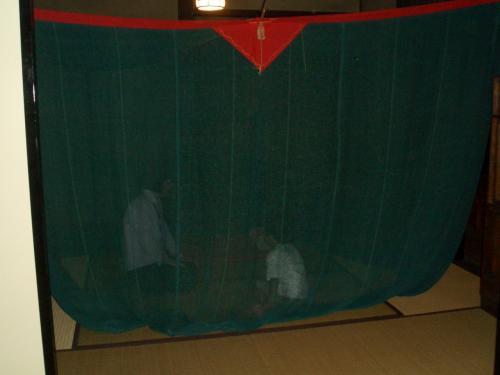 いろりなど昔の生活も体験できます。<br />これは蚊帳。<br />おいっこは初めての体験です。