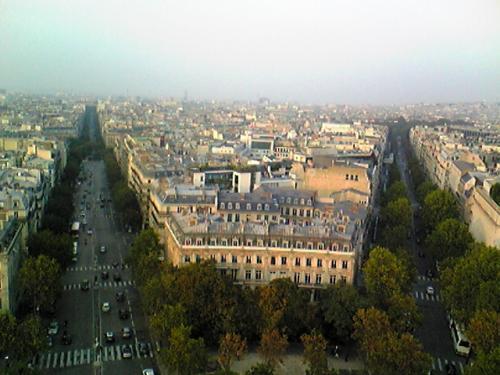 こちらも頑張って登りました。<br />少し日が暮れ始めていて、いい具合の景色が見れました。<br />凱旋門を中心に、キレイに12本の通りが放射線状に延びています。<br />こうして見ると、パリは本当に高い建物が少ないです。<br />ひとしきり景色を楽しんだあと下に降りると、パリお得意の間接照明がうっすら灯って凱旋門を照らしていました。<br /><br /><br />パリの日曜日は、カフェやブラッスリーが閉まっているところが多いです。<br />オペラ座付近に戻ってきたのが8時頃だったと思いますが、暗くなってきてるし空いてる<br />お店が見当たらない。<br />ホテルに向かって歩く途中で、日本語メニューが置いてあるブラッスリーを発見。<br />とても愛想のいいフランス人女性が応対してくださり、でも忙しそうでほっとかれつつ、<br />チーズバーガーセットを食べました。<br />日曜の夜にきちんとしたものを食べようと思うなら、事前に調べておいたほうがいいかも。<br />
