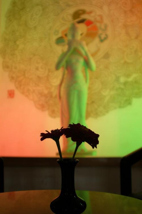 彼を待っている間、ロビーのテーブルにて暇つぶしで撮った写真。。。<br /><br />百日草の後で佇む飛天像。(ブラックシルエットは、テーブルに生けてあった赤の百日草)<br />